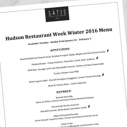 Satis Hudson Restaurant Week