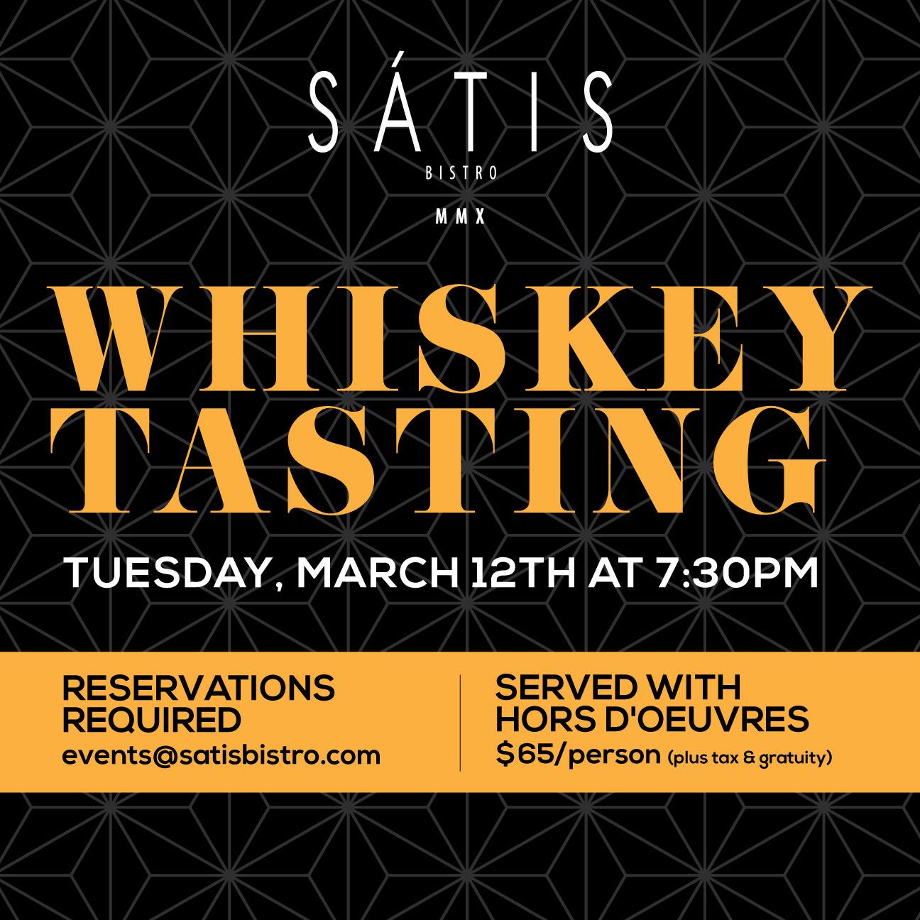 Satis Bistro Whiskey Tasting